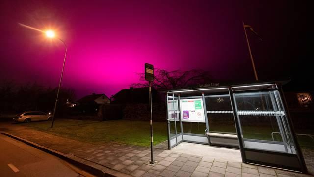 New greenhouse lighting causes the sky to turn purple, Trelleborg, Sweden - 25 Nov 2020