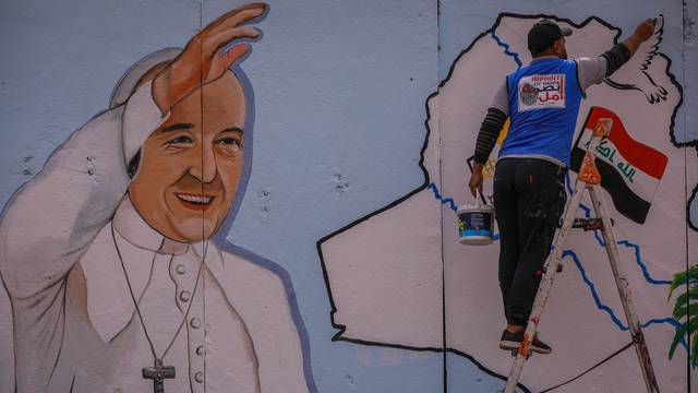 Pope Francis church mural in Baghdad