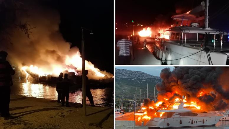 UŽIVO IZ MARINE: Jedan brod se zapalio i otplutao. Vatra se proširila na još pet brodova