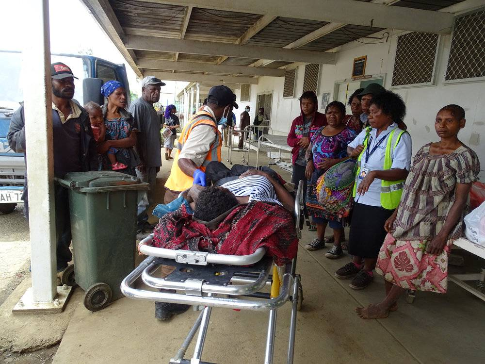 A resident receives medical treatment after an earthquake in Papua New Guinea