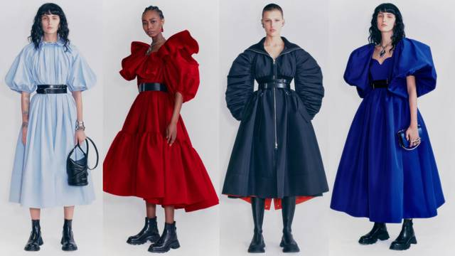 A. McQueen cure nose vojničke čizme i haljine s puf ramenima