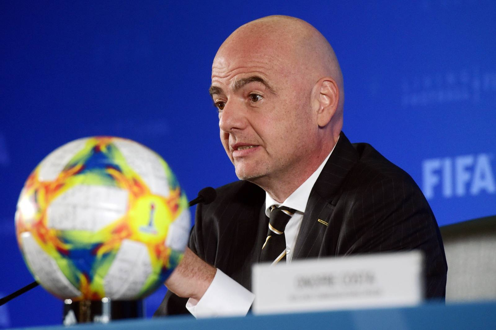 FIFA President Gianni Infantino attends the association's council meeting in Shanghai