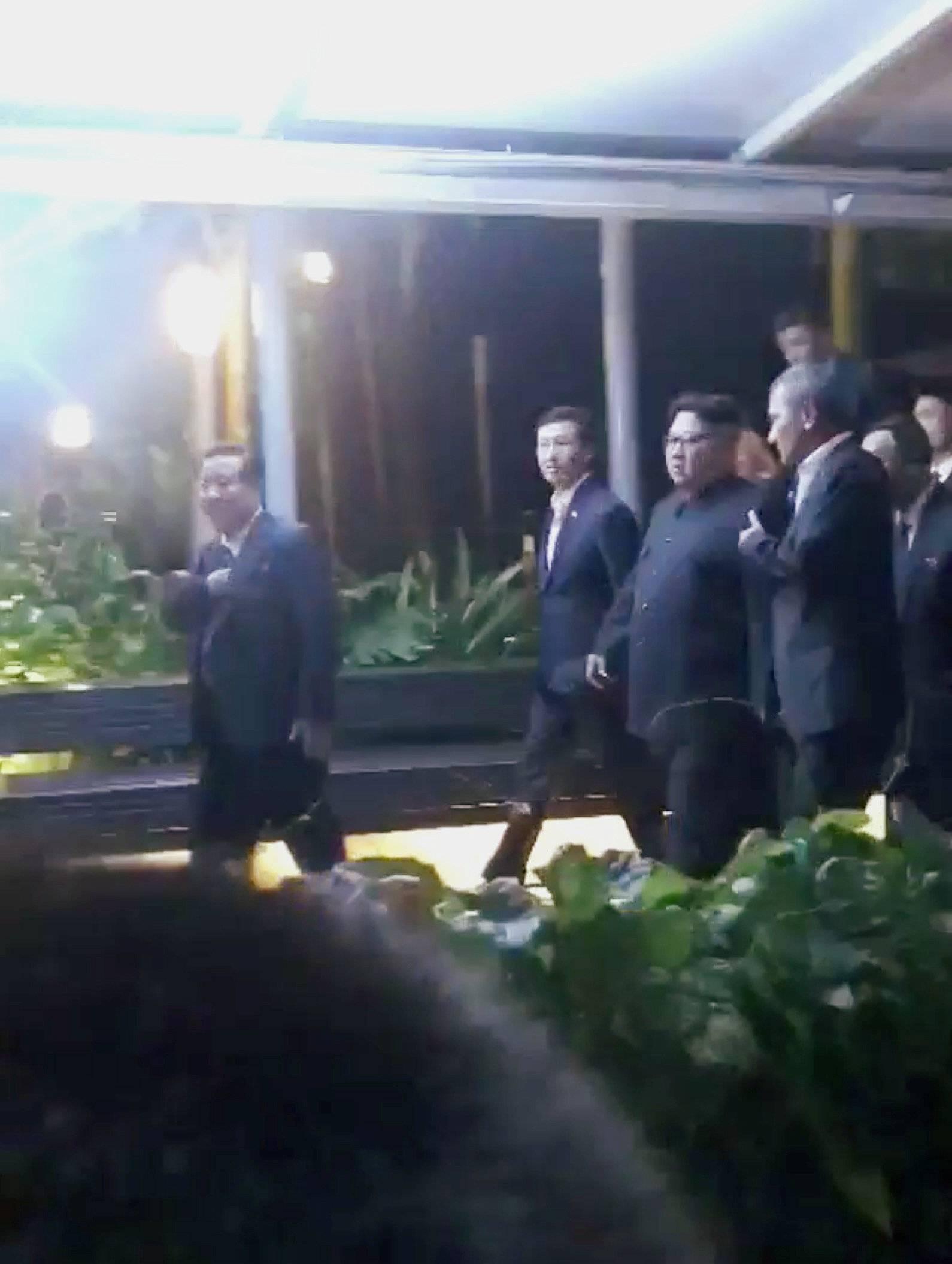 North Korea's leader Kim Jong Un is seen at Marina Bay Sands Skypark in Singapore