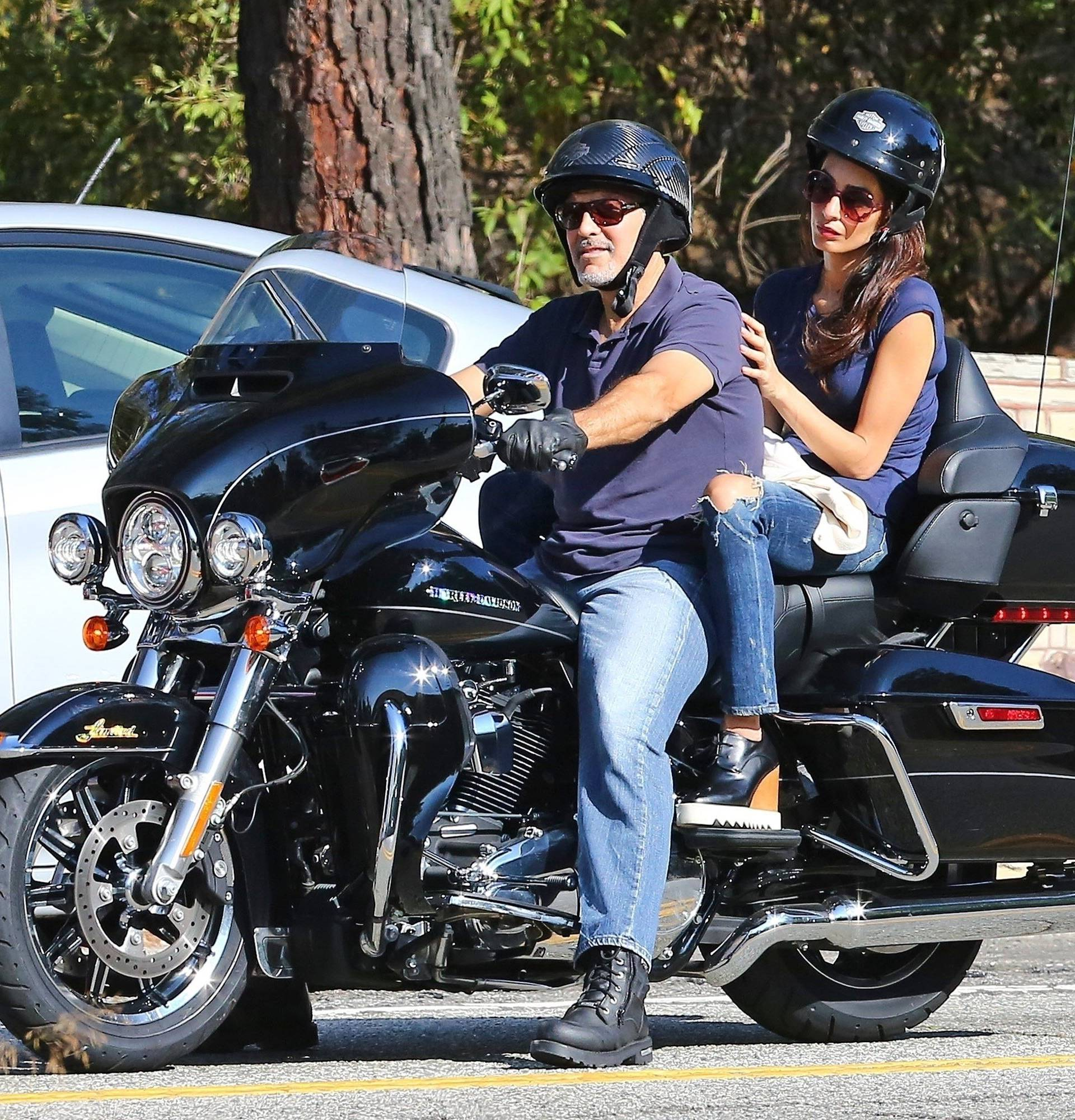 *PREMIUM-EXCLUSIVE* George Clooney to donate his Harley after he was hospitalized following a scooter crash in Italy this past July. **FILE PHOTOS**