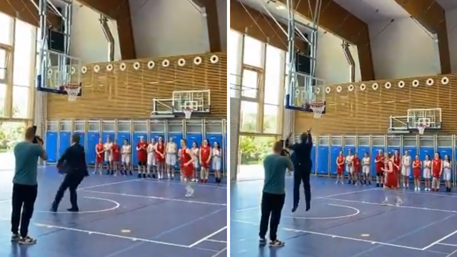 Pogledajte video: Plenković je otvorio dvoranu pa zabio koš