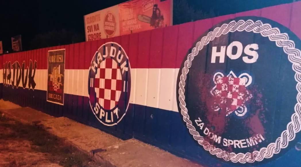 Crvenom bojom zalili HOS-ov grb u Splitu: Ništa nije slučajno