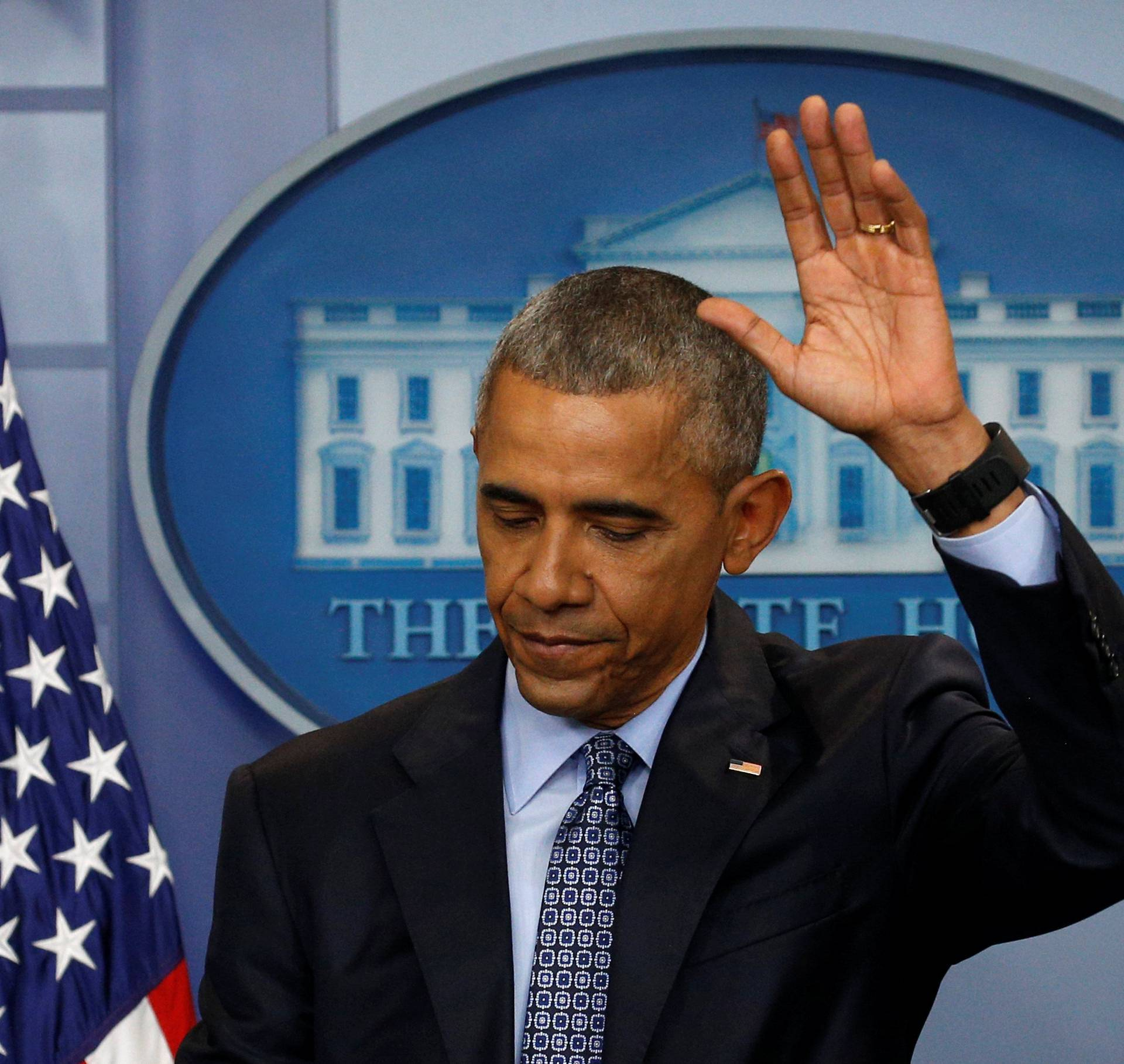 Obama holds his last press conference at the White House in Washington