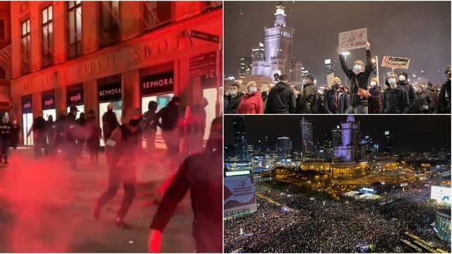 U Varšavi veliki prosvjed zbog zabrane pobačaja: Jedna grupa bakljama napala prosvjednike