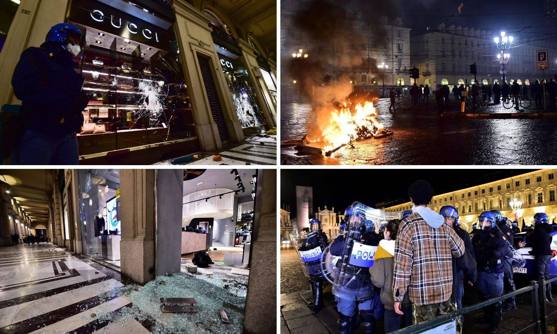 Deseci uhićenih na anticovid prosvjedima i neredima u Italiji