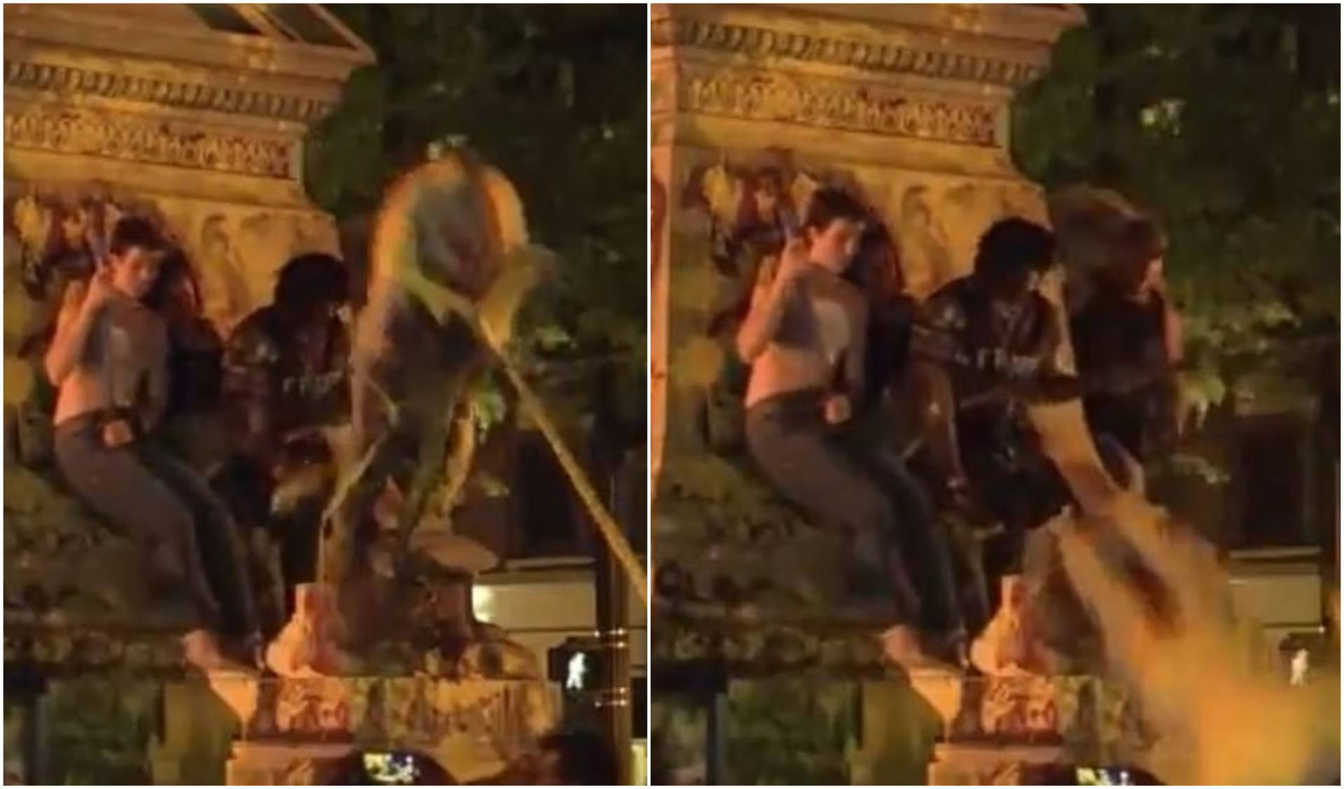 Na prosvjednika se srušio kip, završio je u induciranoj komi!