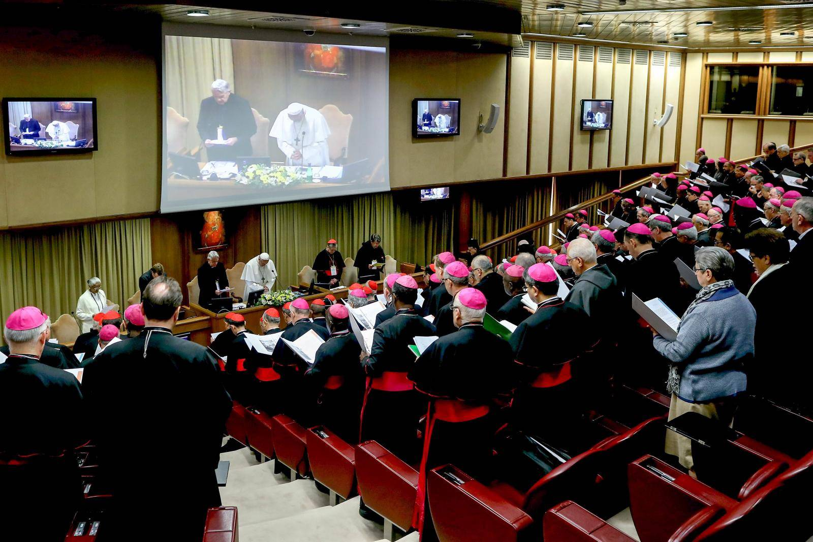 February 21, 2019 : Opening session of  'The Protection Of Minors In The Church' meeting at the Synod Hall in Vatican City, Vatican.