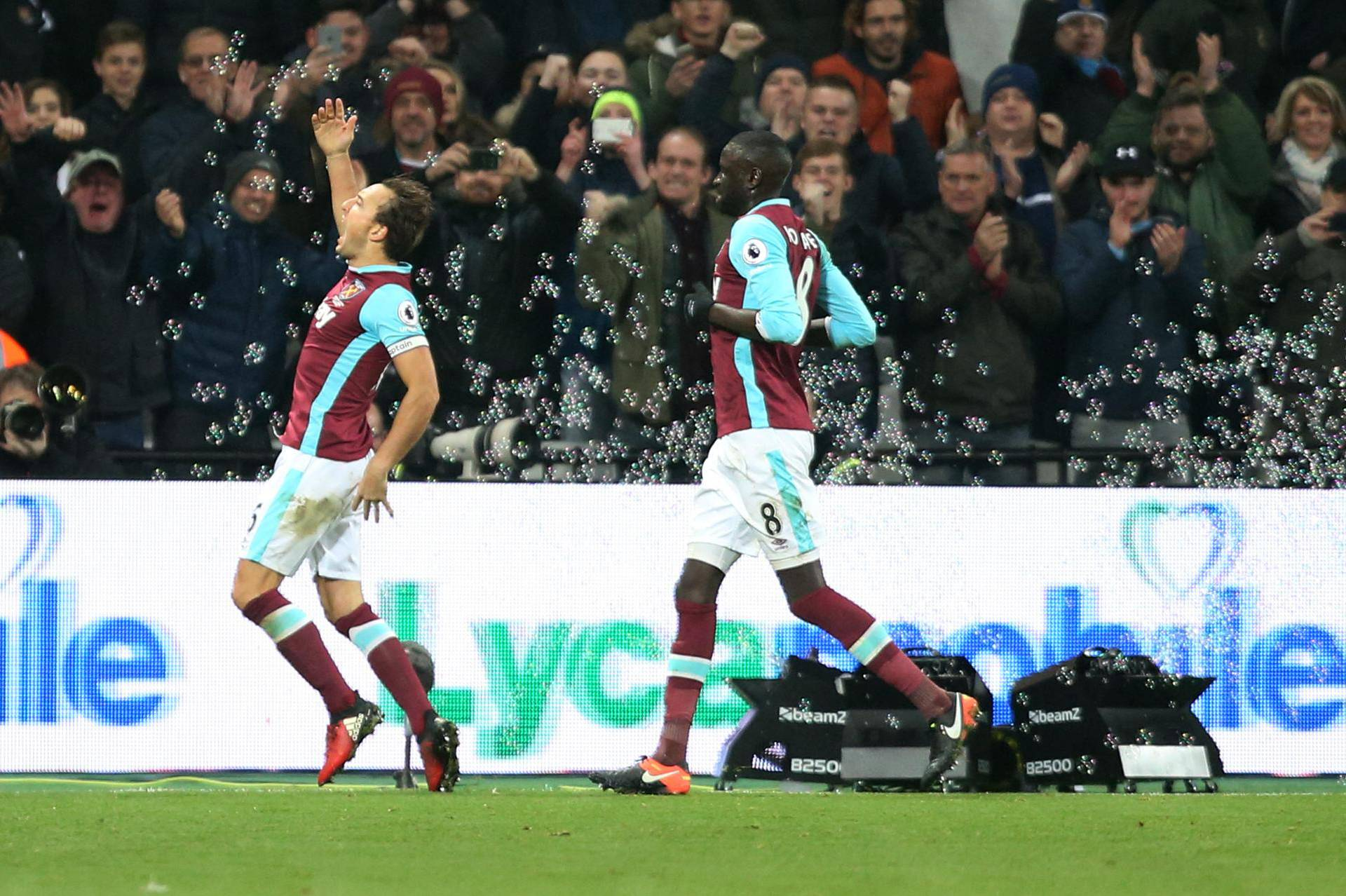 West Ham United's Mark Noble celebrates scoring their first goal