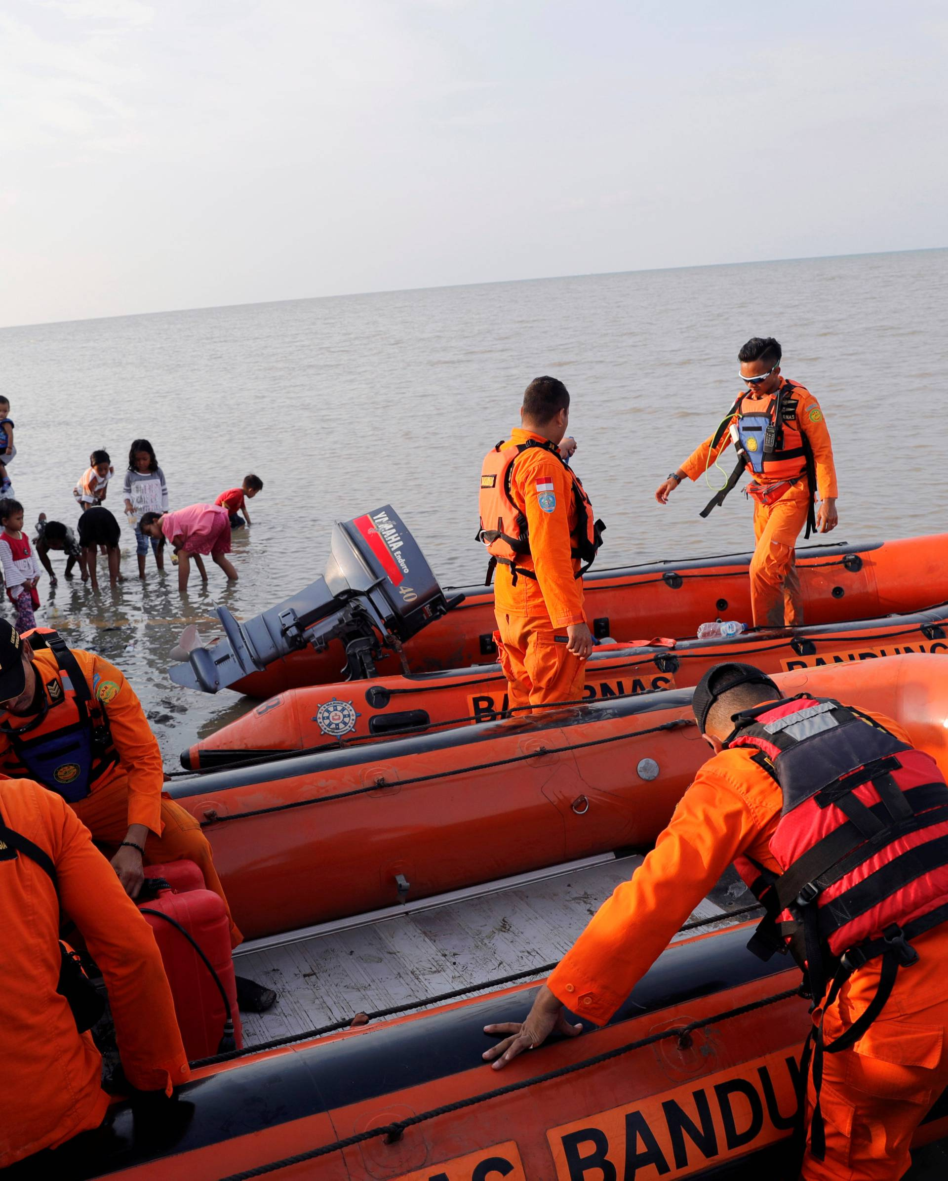 Rescue team prepares boat for Lion Air flight JT610 crash site off the coast of Karawang regency