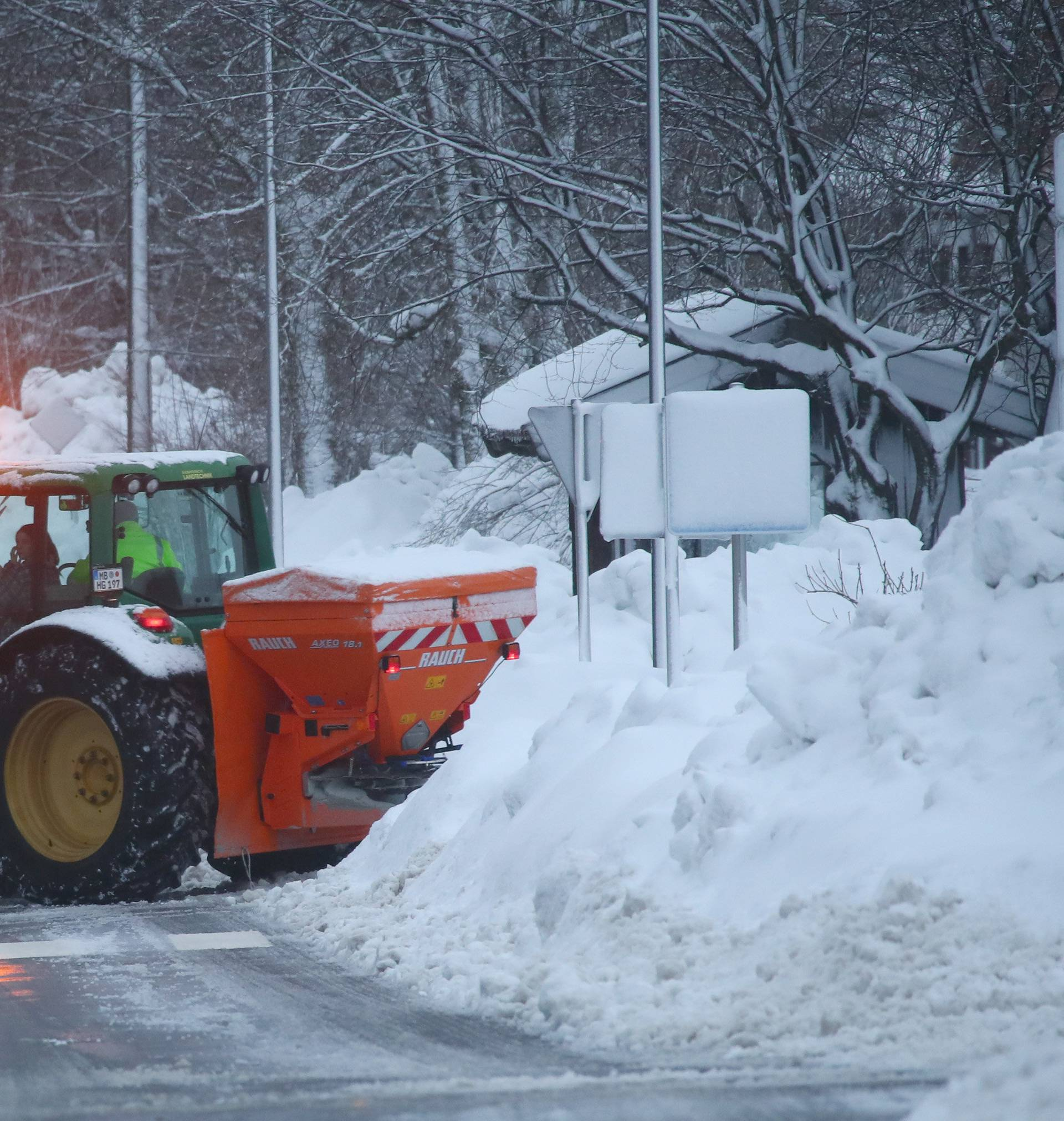 A plough is seen after heavy snowfalls in Warngau