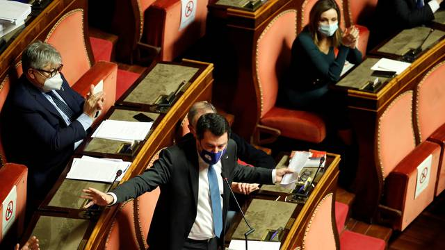 Leader of Italy's far-right League party Matteo Salvini speaks at the upper house of parliament, the Senate, in Rome