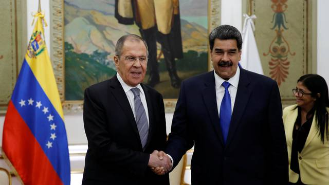 Venezuela's President Nicolas Maduro meets Russia's Foreign Minister Sergey Lavrov at Miraflores Palace in Caracas