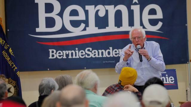 Democratic 2020 U.S. presidential candidate Sanders speaks at a campaign stop in Hooksett