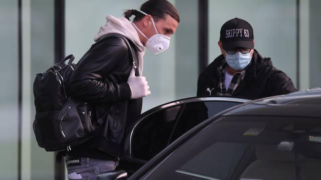 AC Milan's Zlatan Ibrahimovic arrives in Milan