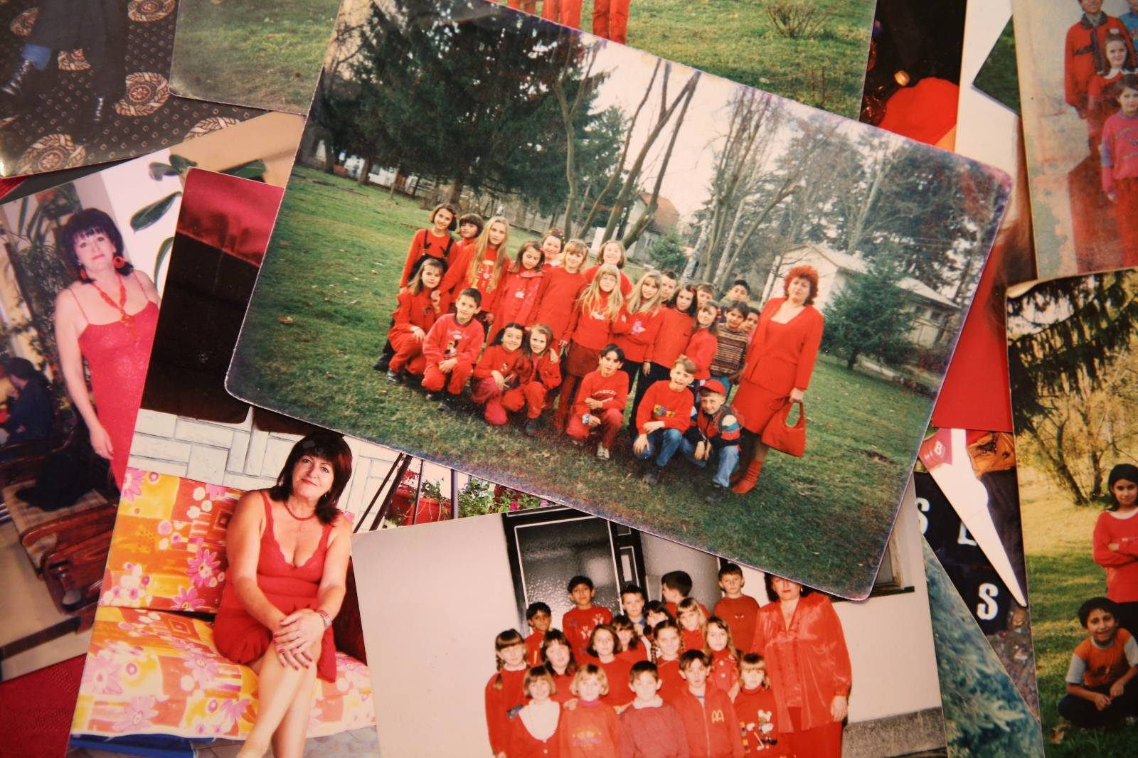 Zorica Rebernik's pictures, from the period when she was a teacher, are seen in her house in the village of Breze near Tuzla