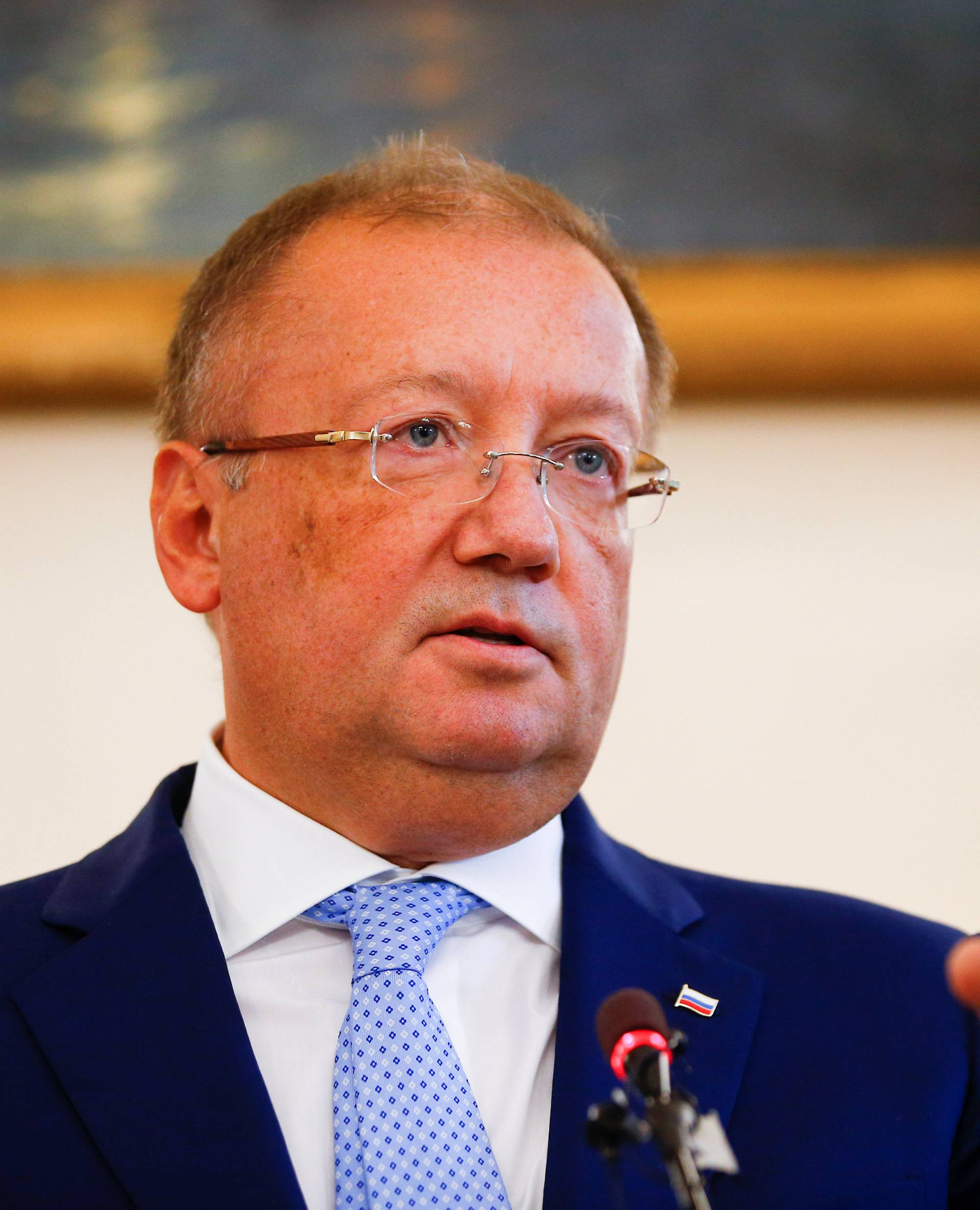 Russian Ambassador to Britain Alexander Yakovenko addresses the media at a news conference in the official Russian Ambassador's residence in London