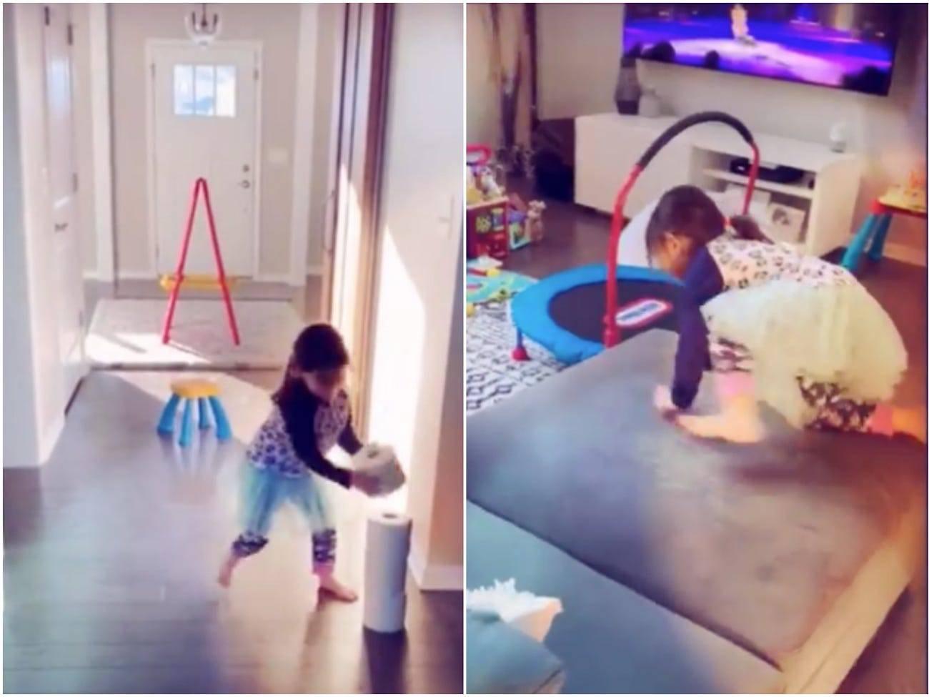 Kućne vježbe: Otac postavio kćeri prepreke koje mora proći