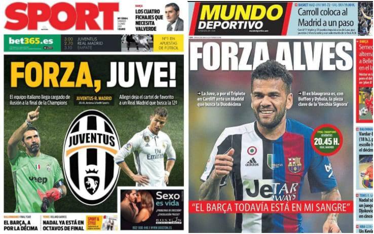 Naslovnice katalonskih novina: Forza, Juventus! Forza, Alves!