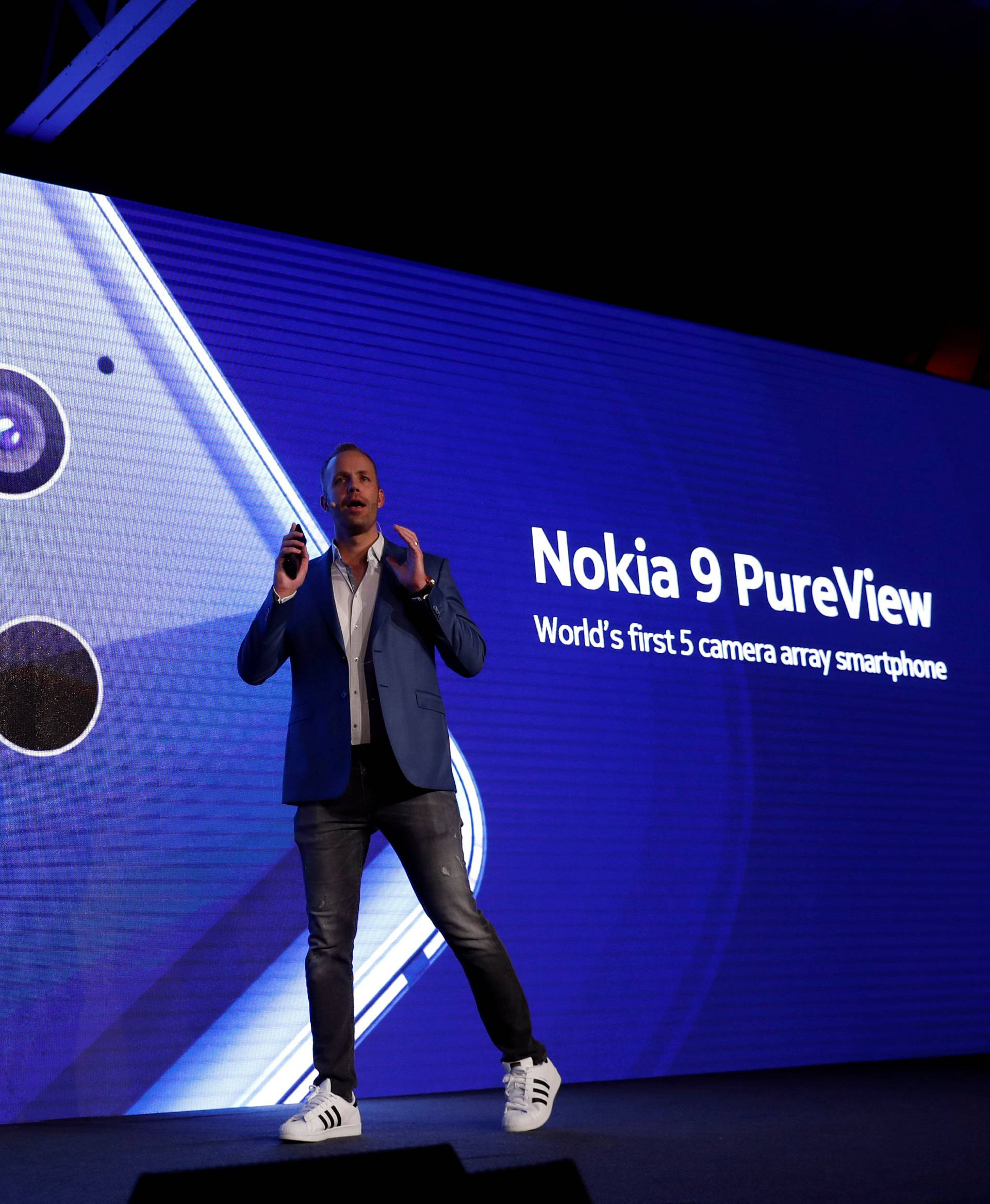 HMD Global Product Officer Juho Sarvikas, presents the new Nokia 9 PureView during the Mobile World Congress in Barcelona