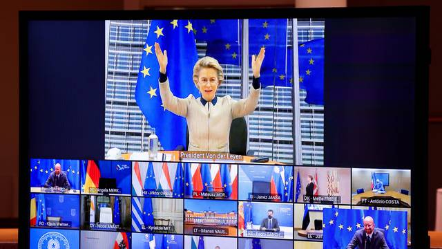European Commission president Ursula von der Leyen attends an EU Summit video conference at the European Council building in Brussels