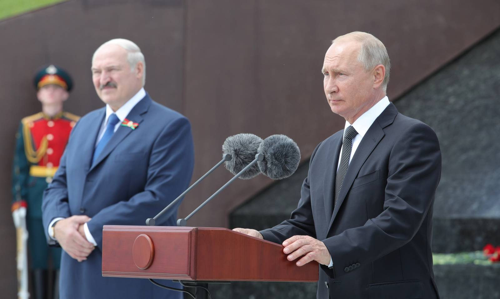 Russian President Putin and his Belarusian counterpart Lukashenko attend a ceremony unveiling the Memorial to the Soviet Soldier near Rzhev in Tver Region
