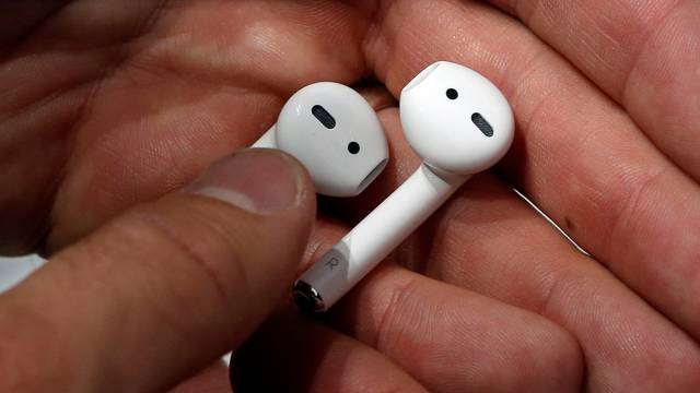 Apple AirPods are displayed during a media event in San Francisco