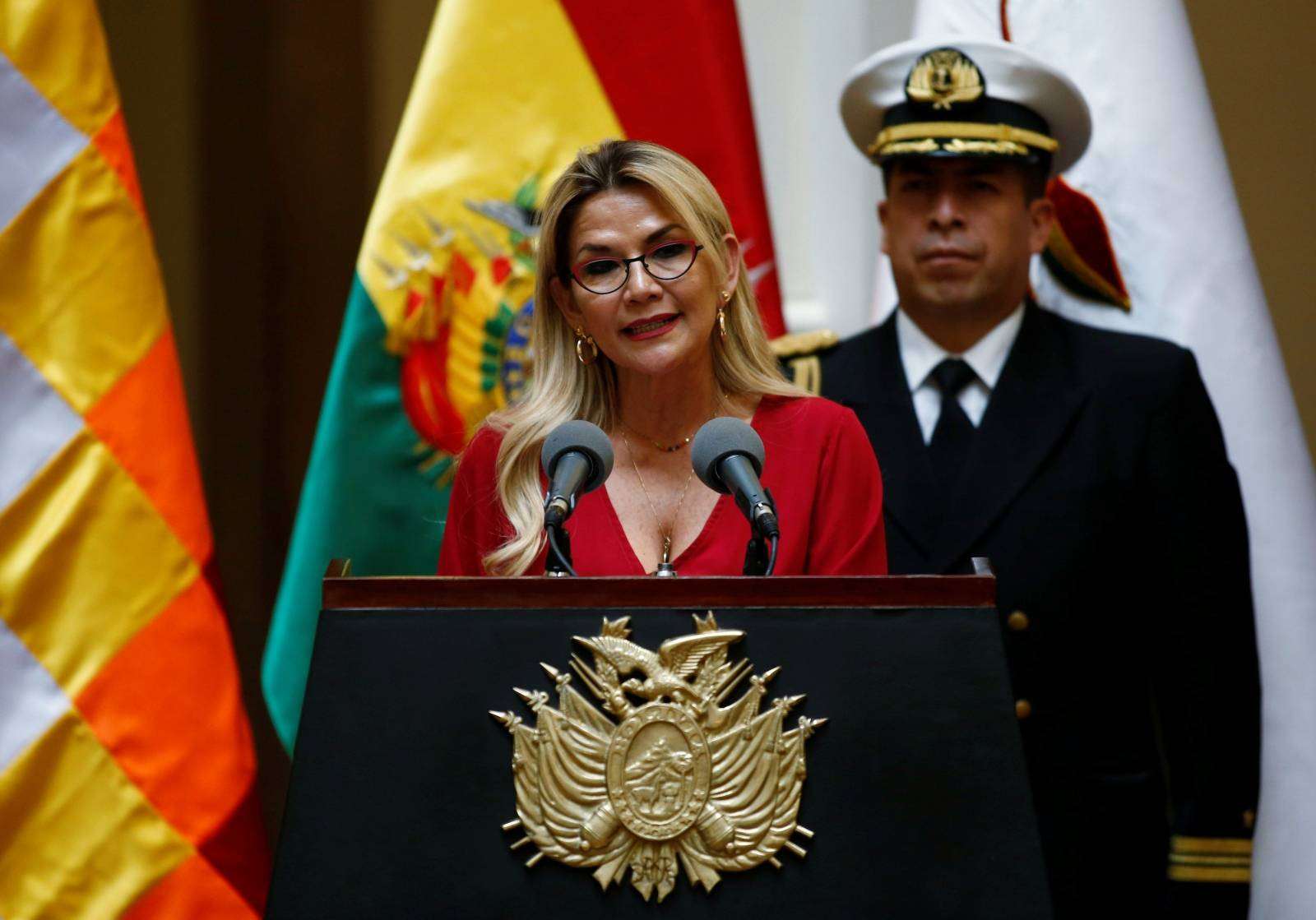 Bolivia's interim president Jeanine Anez speaks during a ceremony at the presidential palace in La Paz
