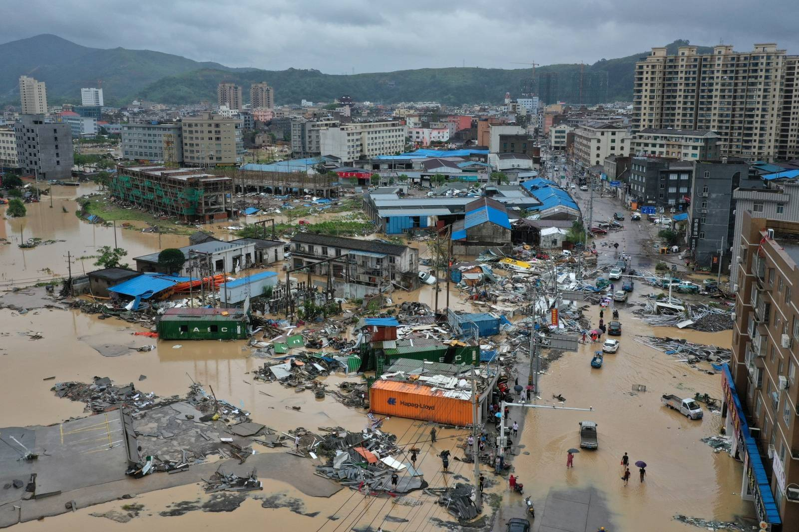 Dajing town is seen damaged and partially submerged in floodwaters in the aftermath of Typhoon Lekima in Leqing