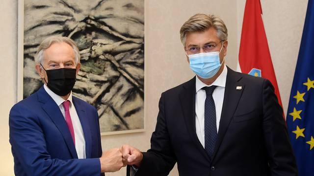 Zagreb: Premijer Andrej Plenković ugostio bivšeg britanskog premijera Tonyja Blaira