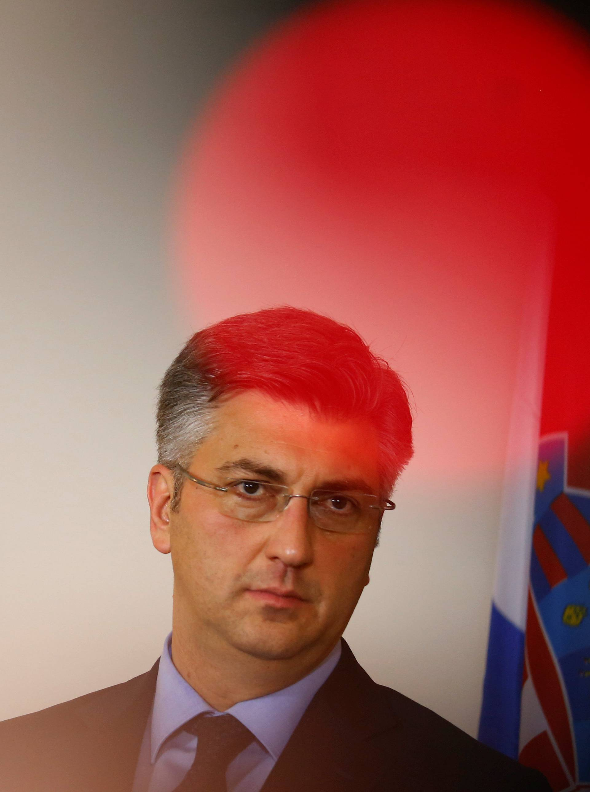 Croatian Prime Minister Plenkovic addresses a news conference in Vienna