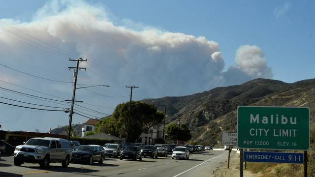 Heavy traffic is seen as cars head south to avoid the Woosley Fire in Malibu