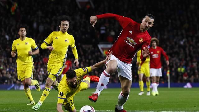 Manchester United's Zlatan Ibrahimovic in action with FC Rostov's Miha Mevlja