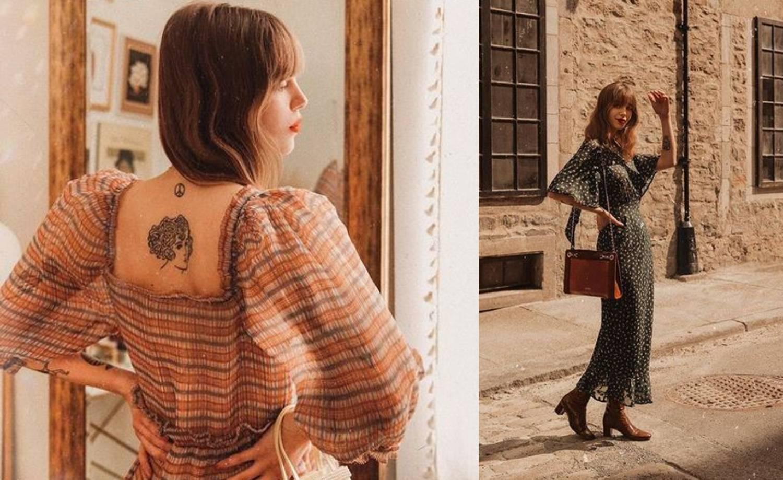 Blogerica  nosi trend sezone - lepršavu haljinu s  puf rukavima