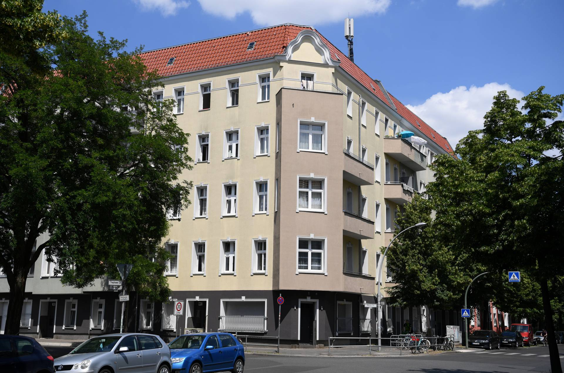General view of a block of flats that have been quarantined, in Berlin-Neukoelln district, in Berlin