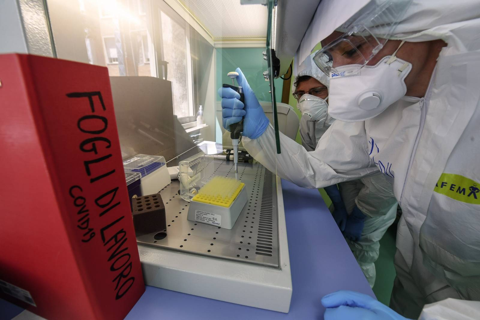 A medical technician works in the laboratory of the Infectious diseases department for coronavirus (COVID-19)