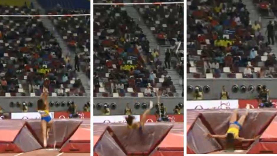 Stadion se zaledio: Atletičarki pukla motka pa ostala ležati