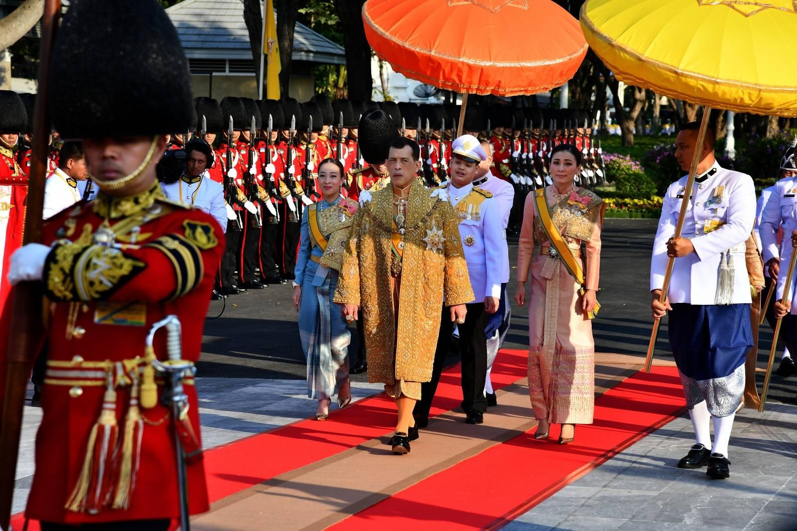Thailand's King Maha Vajiralongkorn takes part in a royal barge river procession along the Chao Praya river in Bangkok