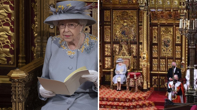 Kraljica Elizabeta II. sama na prvoj ceremoniji, tron princa Philipa zamijenili malim stolom