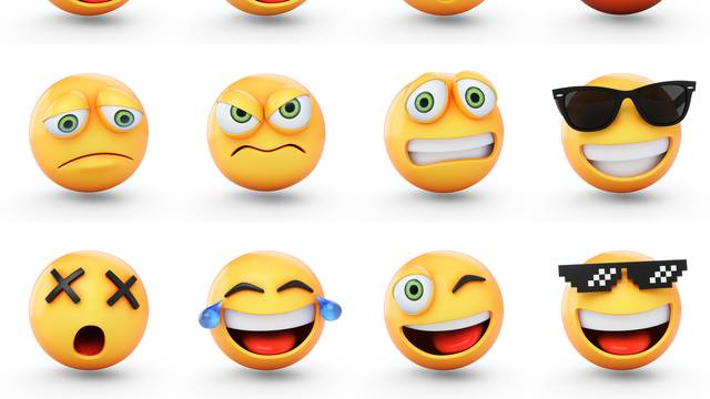 3D Rendering set of emoji isolated on white