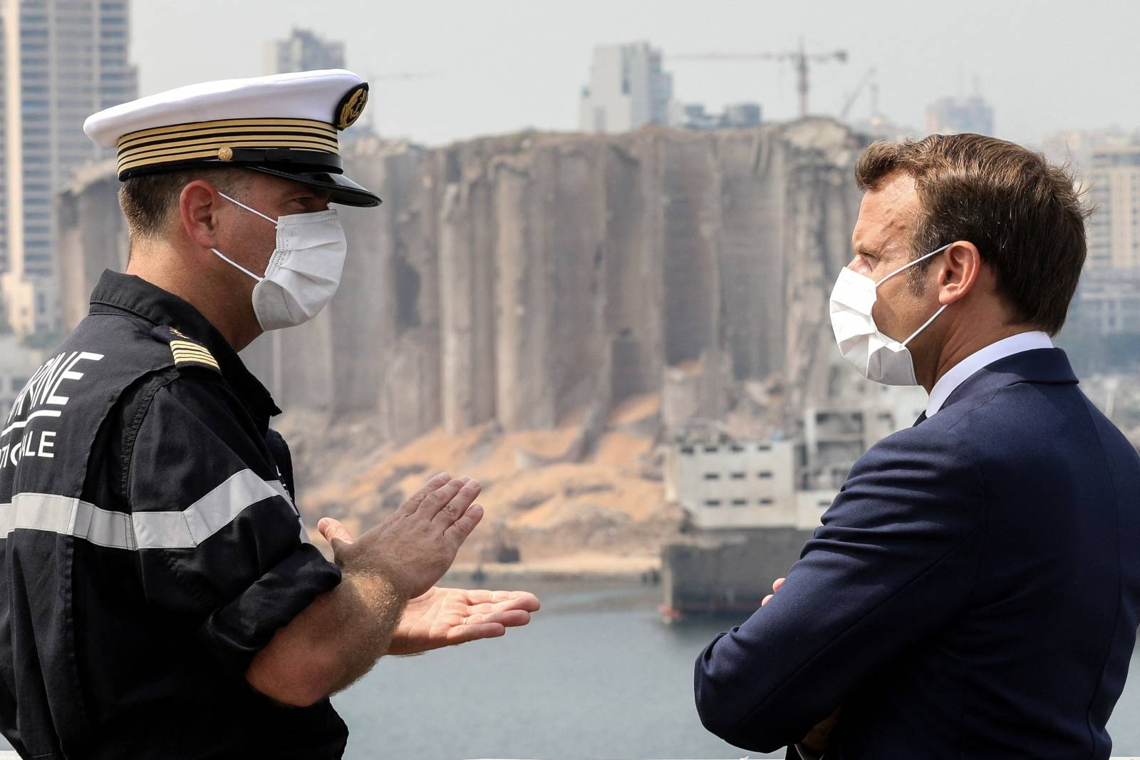 French President Macron visits the port area of Beirut