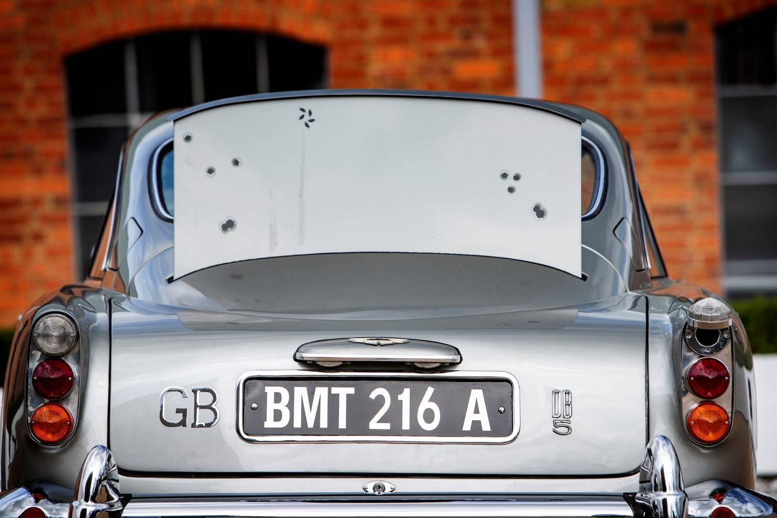 Handout photo of the detail of an original Aston Martin DB5 James Bond car