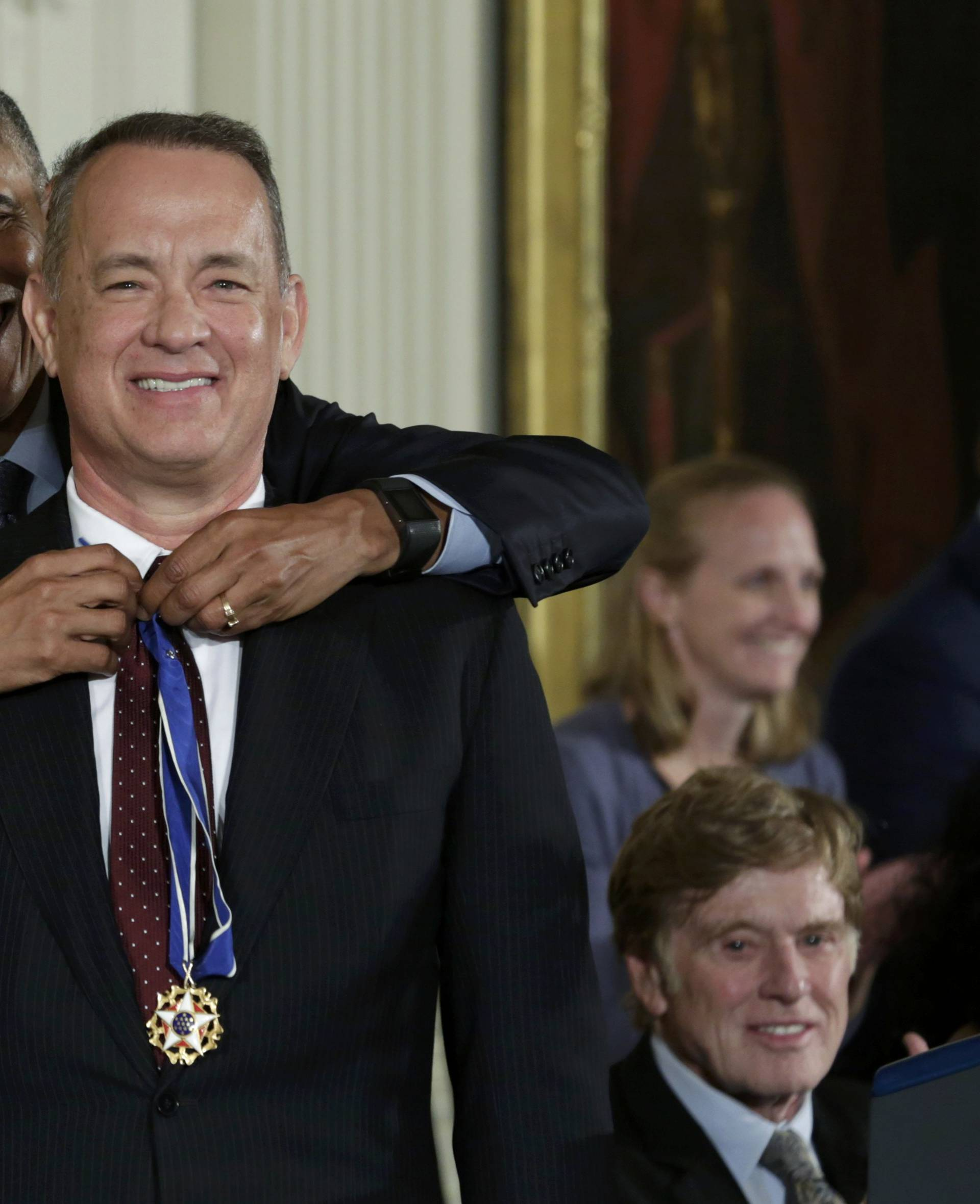 U.S. President Obama presents the Presidential Medal of Freedom to actor Hanks during ceremony at the White House in Washington