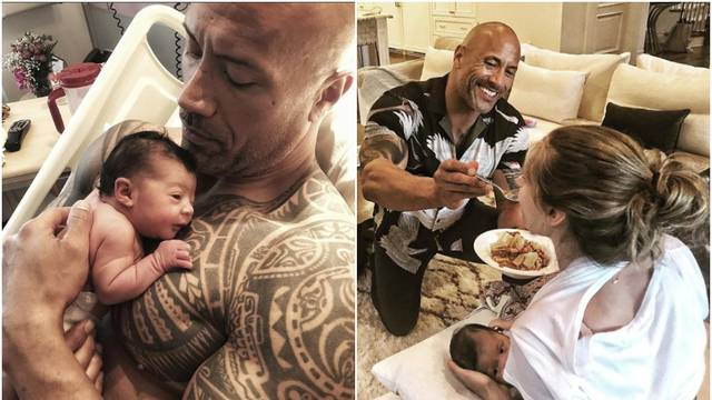 Tako to radi Dwayne The Rock: On hrani nju, a ona doji bebicu
