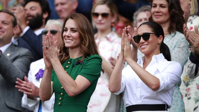 Kate Middleton, the Duchess of Cambridge, Meghan Markle, the Duchess of Sussex and Pippa MIddleton watch the Ladies Singles Final between Serena Williams and Simona Halep at The Wimbledon Championships tennis, Wimbledon, London on July 13, 2019