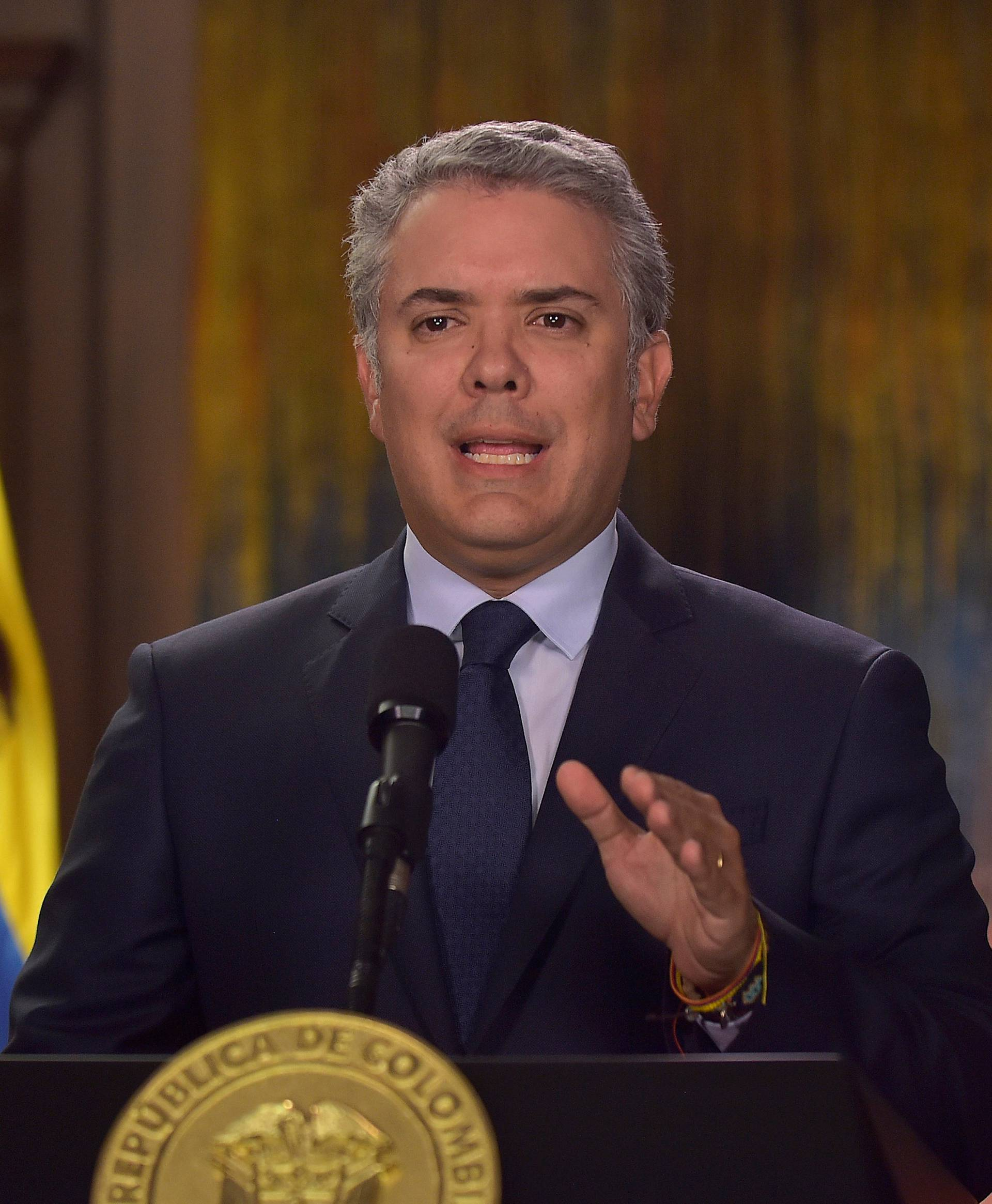 Colombian President Ivan Duque Marquez talks about the cancellation of dialogues with the ELN guerrilla after the car bomb attack in Bogota