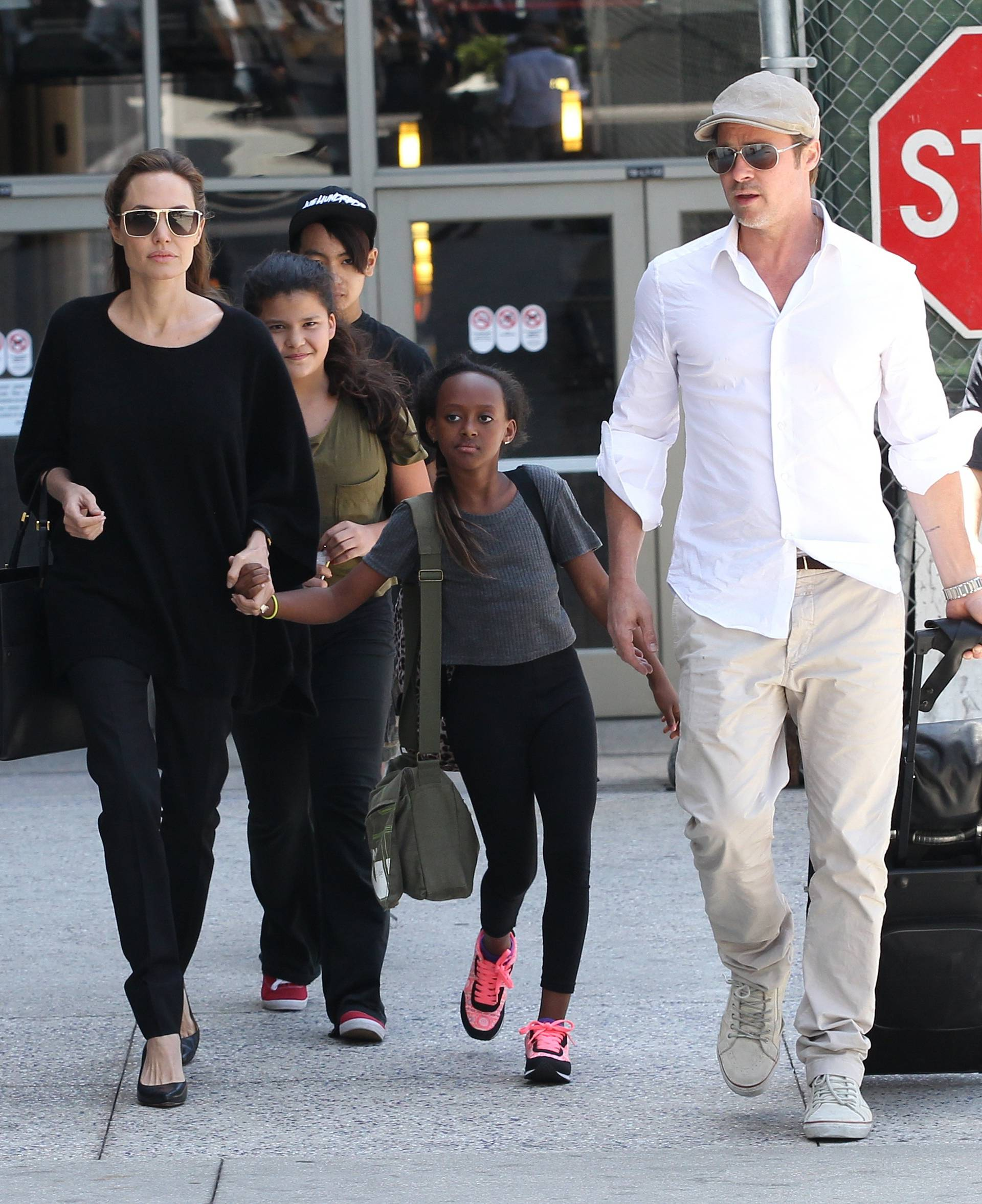 Angelina Jolie, Brad Pitt and Family Sighting - Los Angeles